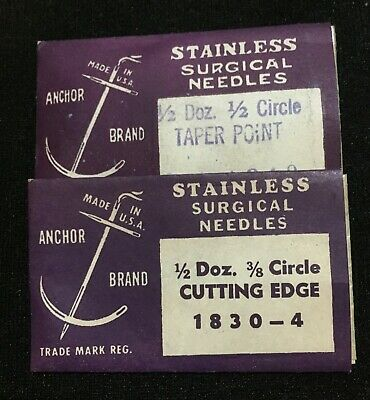 Antique Vtg Medicine / Dental Lot Of 2 Packs Surgical Needles, Anchor Brand