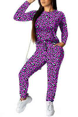 AA CHICAGO Fashion Leopard Print Round Neck Pullover Two Piece Sets