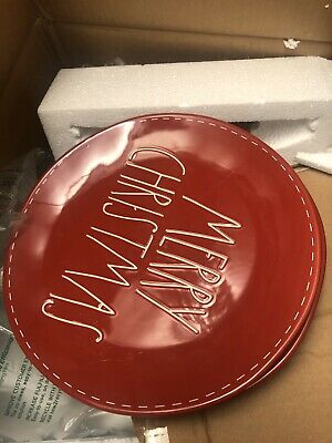 """New! Rae Dunn Red """"MERRY CHRISTMAS"""" With White Stitching Dinner Plates Set Of 4"""
