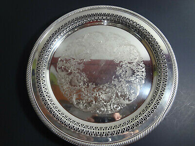 WM Rogers Plate  #160 Round Silver Designed Platter Engraved Tray Vintage
