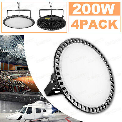 4pcs LED High Bay Lights 200W Commercial Warehouse Industrial Factory Cool White
