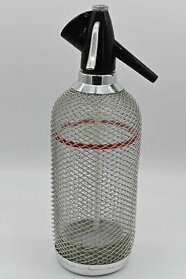 Vintage BAR Retro Glass Wire Mesh Seltzer Soda Syphon Red Line Bottle