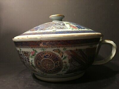 Antique Large Chinese Fitzhugh Blue and White Famille Rose Chamber Bowl, 19th C