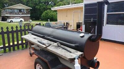 Pit Smoker single axle trailer w/ warming box, backyard , BBQ Grill