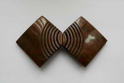 BNWOT Vintage 1930's Art Deco Dark Brown Carved Bakelite Belt Clasp Deadstock