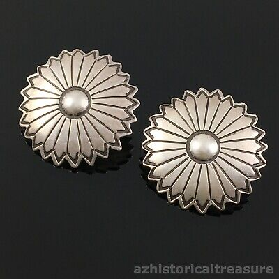 NATIVE AMERICAN NAVAJO HANDMADE STERLING SILVER CONCHO EARRINGS by IRA CUSTER