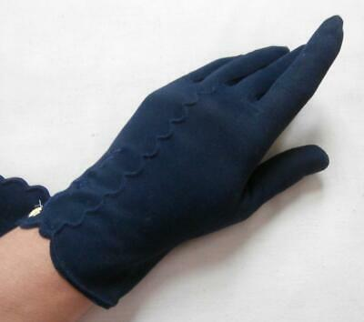 BNWOT Vintage 1960's Navy Blue Nylon Embroidered Wrist Gloves Size 6 1/2, Small