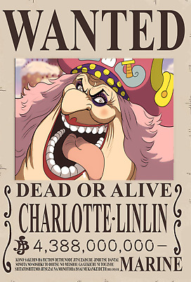 Poster A3 One Piece Big Mom Charlotte Linli Recompensa Se Busca Wanted Bounty