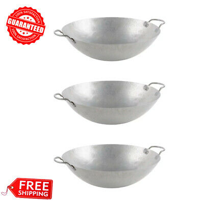 """(3/Pack) 18"""" Hand Hammered Cantonese Wok"""