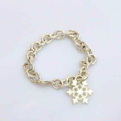 Authentic Tiffany & Co. Snowflake Snow Flake Charm Bracelet Sterling Silver 925