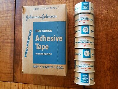 VINTAGE JOHNSON & JOHNSON ADHESIVE TAPE IN TIN box included 7 tins