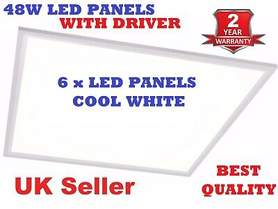 6 X LED Panel 48W Recessed Ceiling 600x 600x 9mm -Cool White 6500k with Driver