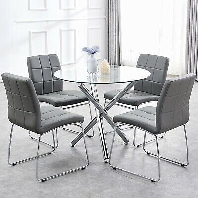 Dining Table And 4 Chairs Round Gl