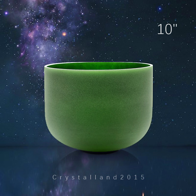 """F Note Heart Chakra Colored Frosted Quartz Crystal Singing Bowl 10 """""""