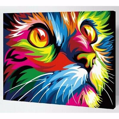 Wooden Framed DIY Paint By Number Kit Multi-colored Cat Animal Home Decor Xmas