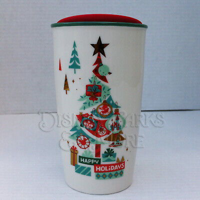 Disney Parks Starbucks Happy Holiday Christmas Tree Tumbler with Lid