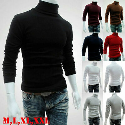 AU Mens Polo Roll Turtle Neck Pullover Knitted Jumper Turtleneck Tops Sweater