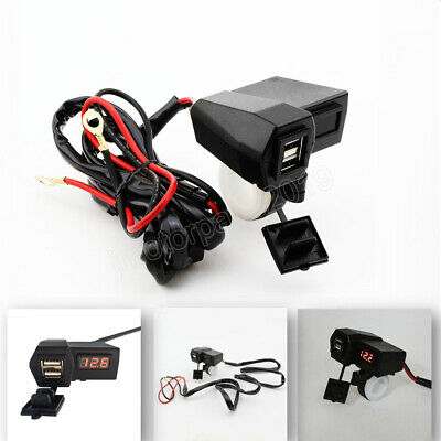 Waterproof Motorcycle Dual USB Charger Red LED Voltage Voltmeter 12-24V Switch