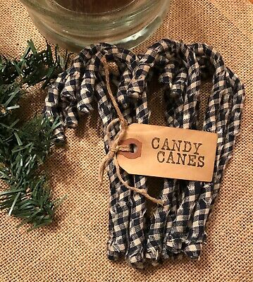 12 Primitive NAVY BLUE CHECK PLAID Fabric Candy Canes Christmas Ornaments rustic