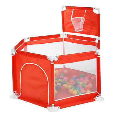 6 Panels Baby Playpen Safety Guard with Round Zipper Door for Toddler Kids Play