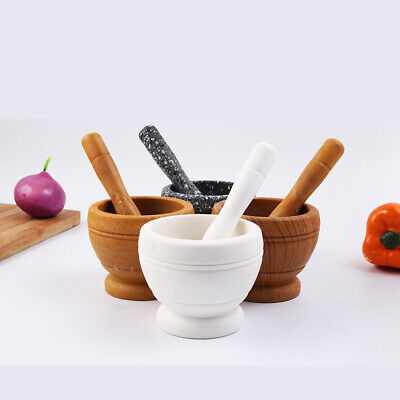 New Natural Resin Pestle And Mortar Spice Herb Crusher Grinder Grinding Paste