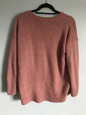 womens M&S salmon pink hip length soft long button sleeve v