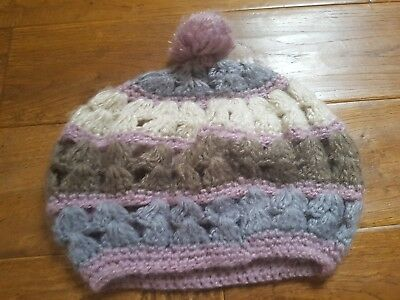 Girls Angels ACCESSORIZE Woolen Hat Aged Approx 8-12 Years Pompom