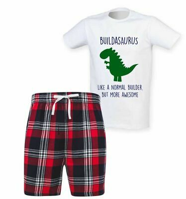 Mens Builder Dinosaur Christmas Tartan Short Pyjama Set Family Matching Twinning