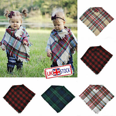 Baby Kids Boys Girls Autumn Winter Warm Scarf Casual Plaid Soft Wrap Scarf Cappa