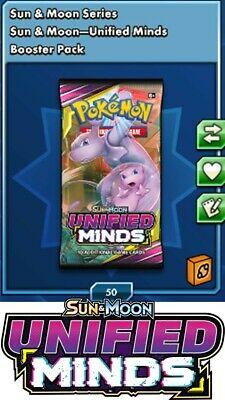 50x Sun&Moon Unified Minds Digital Booster Packs - Pokemon TCGO Online