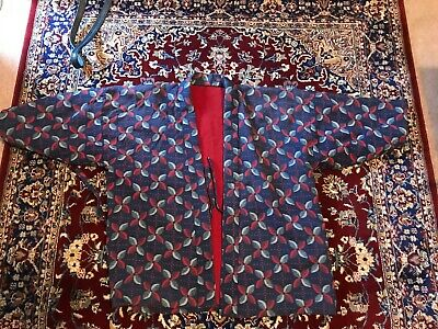 jacket with red fleece and pattern Unisex small size