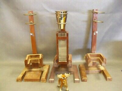 Vintage Medical Lab Funnel Stands Wood Lot of 3 w Sifting Accessories