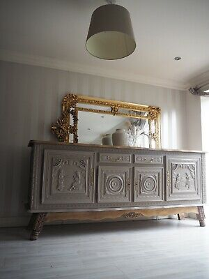 Large Heavily Carved Ornate French Antique Sideboard In Taupe And Wood