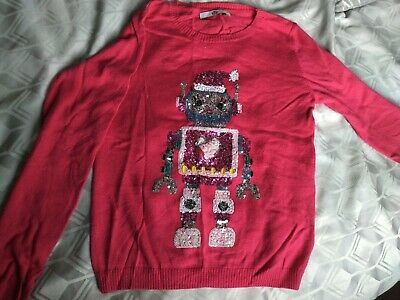Girls Pink Festive Sequin Musical Christmas Jumper M&S 10 11 12 lights up