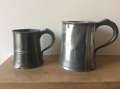 Two Antique Pewter Tankards Measures.yates & Birch.