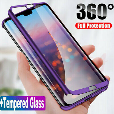 For iPhone 11 Pro Max XS XR 7 8 Plus 360° Full Cover Hybrid Case+Tempered Glass