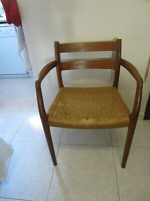 Danish  mid century modern cord seat niels o' moller teak chairs  84 model
