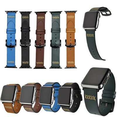 Vintage Genuine Leather Strap Wrist Band For Apple Watch iWatch Series 5/4/3/2/1