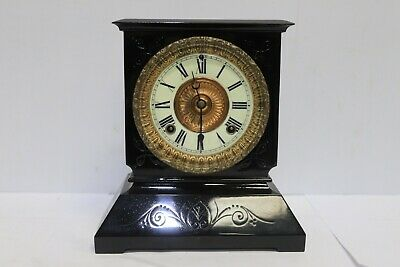 Antique Victorian 8 Day Architectural Marble Mantel Clock Brass Detail - 250