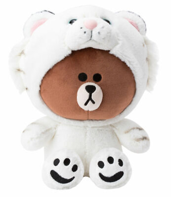 [LINE FRIENDS] Plush Doll Snow Tiger BROWN Bear 25cm 9.8Inch Official Xmas Gift