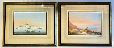 Pair of Antique 19th Century Watercolor Paintings Grand Tour of Italy 18.5x15.5