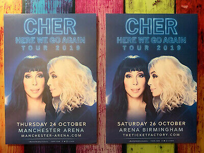 """CHER """"Here We Go Again"""" Tour 2019 A5 Poster Flyer For Manchester & Birmingham"""