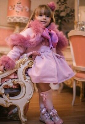 Spanish Romany Meriche Girls Pink Cape Fur Coat Bnwt Age 9