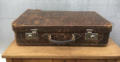 Old Suitcase Leather um 1920 Vintage 19 11/16x11 13/16in and 5 1/8in High