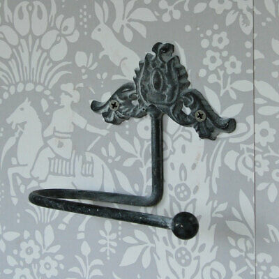 Vintage grey metal shabby chic wall mounted toilet loo roll holder