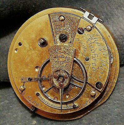 Thomas Clare Bedford Working Antique  Fusee  Pocket Watch Movement