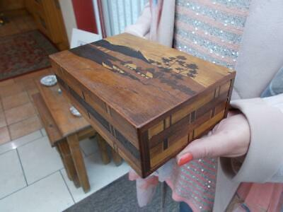 Oriental Antique Inlaid Marquetry & Parquetry Puzzle Box Possibly Japanese