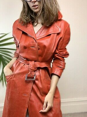 Vintage 70's Style Red Leather Trench Coat