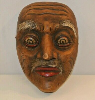 Balinese Topeng Tua Mask Hair Eyebrow Antique Wood Hand-painted Carved VTG Viejo