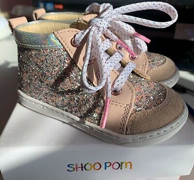Shoopom from Pom D'Api, Girls Sparkly Glitter Leather Shoes